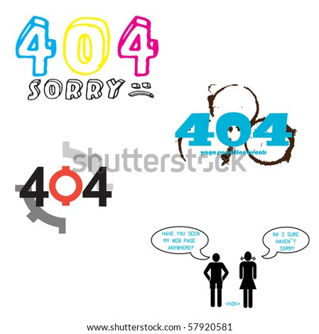 A set of vector 404 error icons for web designers - stock vector