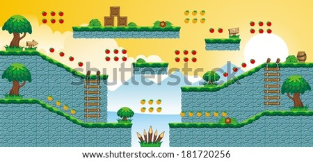 A set of vector game asset, contains ground tiles and several items / objects / decorations, used for creating mobile games - stock vector