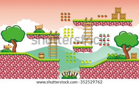 A set of vector game asset with background, contains ground tiles and several items / objects / decorations, used for creating mobile games - stock vector