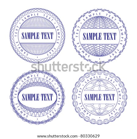 A set of vector guilloche blue seal, pattern for currency, certificate or diplomas, vector illustration - stock vector