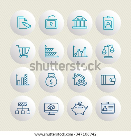 A set of vector icon graphic for business, finance, office, company, stock, graph, document, paper, money, real, estate, employee card, bank, diagram, credit, lock, cloud, cart, wallet, pig, - stock vector