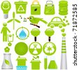 A set of Vector icons : Energy and Environmental Conservation - stock vector