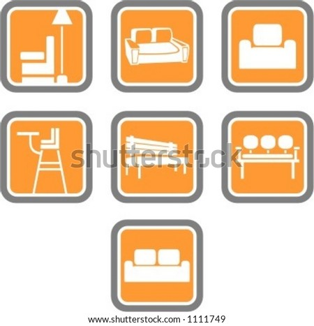A set of 7 vector icons of furniture objects. - stock vector