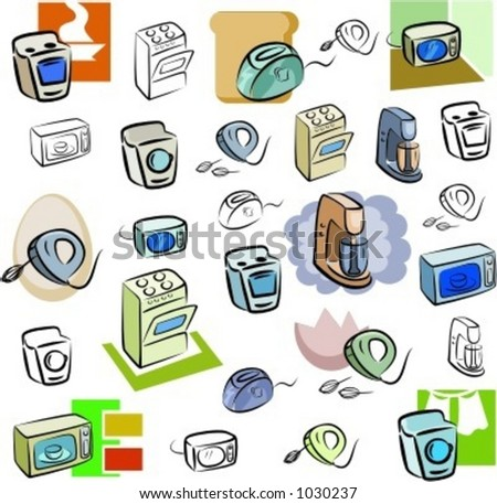 A set of vector icons of kitchen appliances in color, and black and white renderings. - stock vector