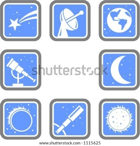 A set of 8 vector icons of space objects. - stock vector