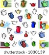A set of vector icons of teapots, kettles and jugs in color, and black and white renderings. - stock vector