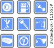 A set of 9 vector icons of transportation objects. - stock vector