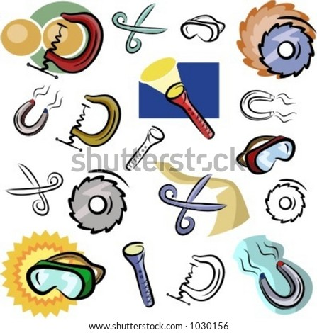 A set of vector icons of various tools in color, and black and white renderings. - stock vector