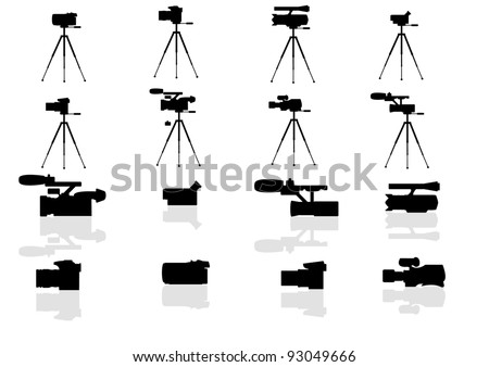 A set of vector icons - video and photo cameras - stock vector