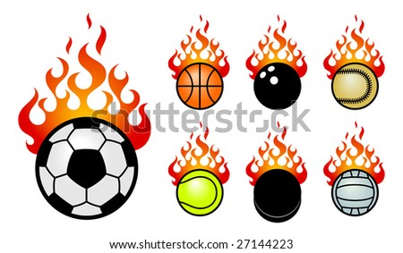 A set of vector icons with a sport fireballs. - stock vector