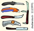 A set of 6 vector illustrations of box cutters and knives. Check my portfolio for many more images. - stock vector