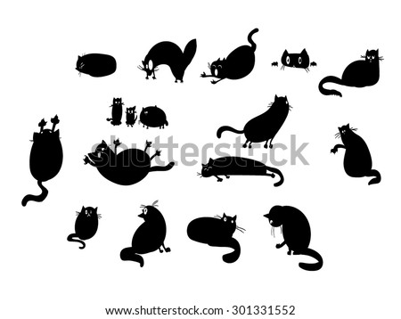 A set of vector illustrations of cat silhouettes. - stock vector