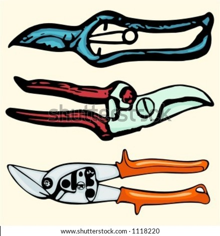 A set of 3 vector illustrations of gardening clippers. Check my portfolio for many more images. - stock vector