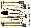 A set of 10  vector illustrations of gardening  tools. Check my portfolio for many more images. - stock vector
