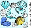 A set of 5 vector illustrations of mussels and clams in color, and black and white renderings. - stock vector