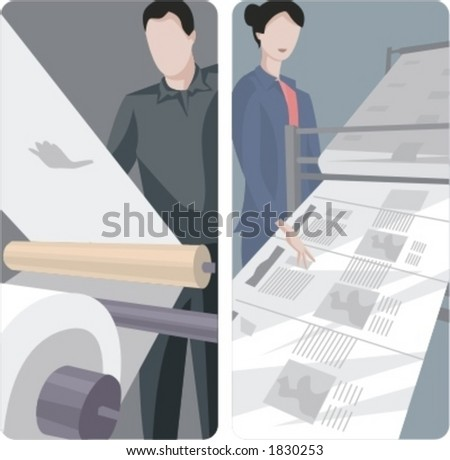 A set of 2 vector illustrations of news papers printing. - stock vector