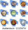 A set of 9 vector illustrations of planets. - stock photo