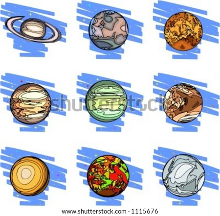 A set of 9 vector illustrations of planets. - stock vector