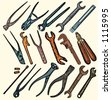 A set of 17 vector illustrations of rusty tools. - stock photo