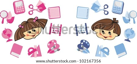 A set of vector images. The boy and girl around school subjects - stock vector