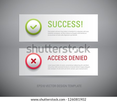A set of vector interface dialog / notification message boxes - success, access denied, with plastic round icons - stock vector
