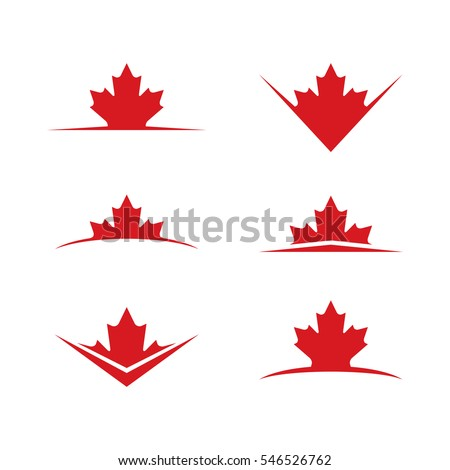 A set of vector maple leaves rising over graphic horizon lines.