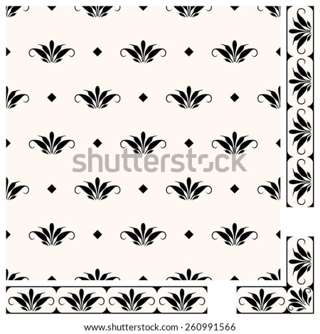 A set of vector pattern and decorative vertical and horizontal borders with a corner element. Folk style pattern and a frame. Black floral elements on white background. Traditional ornament. - stock vector