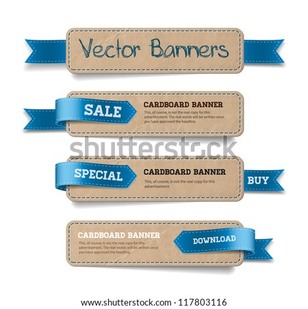 A set of vector promo cardboard paper banners decorated with blue ribbon tags - stock vector