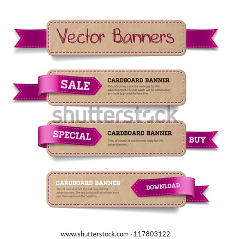A set of vector promo cardboard paper banners decorated with purple ribbon tags - stock vector