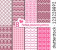 A set of vector seamless pink patterns. - stock vector