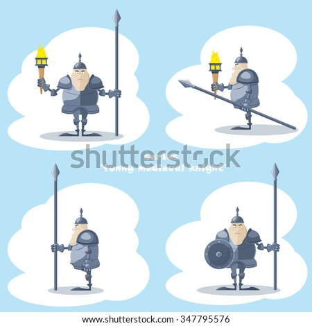 A set of vector shapes funny medieval knight with a spear and a torch in the hands isolated on white background - stock vector