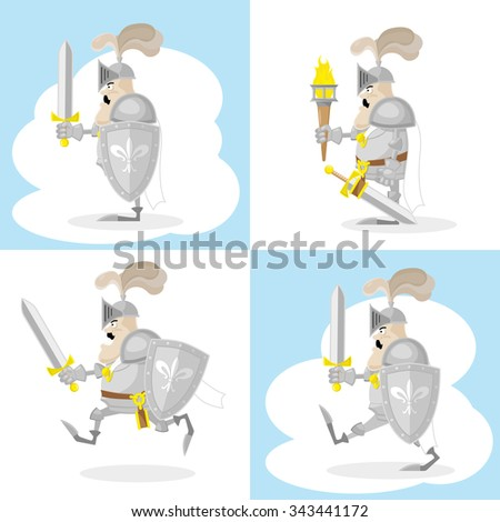 A set of vector shapes funny toy medieval knight in white cloak with sword and shield isolated on white background - stock vector