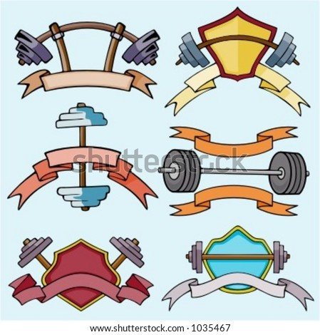 A set of 6 vector sport templates of dumbell.Ready-to-cut.Pantone colors. - stock vector