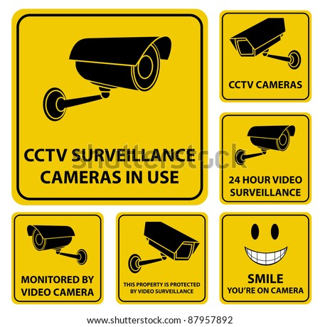 A set of vector surveillance and CCTV camera yellow signs. - stock vector