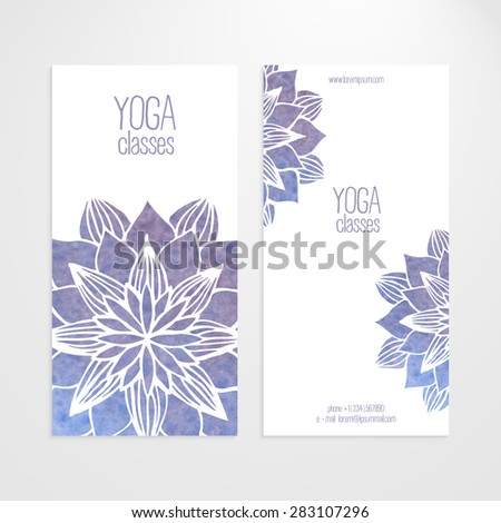 A set of vector templates of business banners. Watercolor blue violet flowers on a white background. Mandalas. Yoga, spa and oriental practice and art concept. Flower under the mask and edited