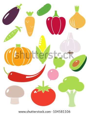 A set of vegetables vector icons - stock vector