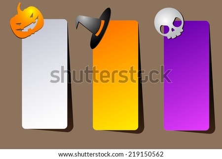 A set of vertical brightly colored paper banners with shadow or invitations for Halloween party with a hat, skull and pumpkin - stock vector