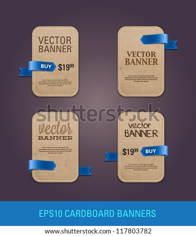 A set of vertical vector cardboard paper promo banners decorated with blue ribbon tags - stock vector