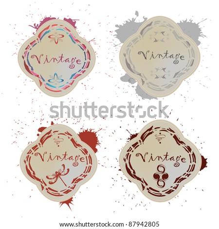 a set of vintage labels blots - stock vector