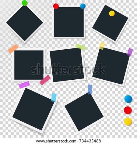 Set Vintage Photo Frames Magnets Sticky Stock Vector 734435488 ...