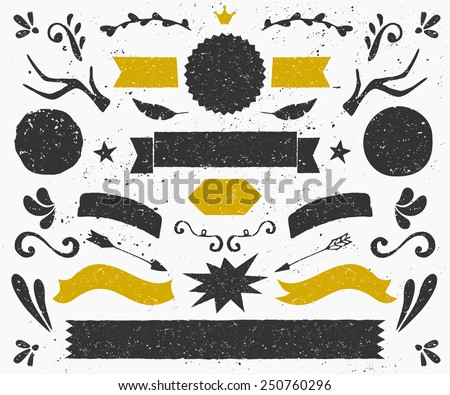 A set of vintage style design elements in dark gray and golden. Hand drawn decorative elements and embellishments. Banners, ribbons, swirls, labels and other retro style graphics. - stock vector