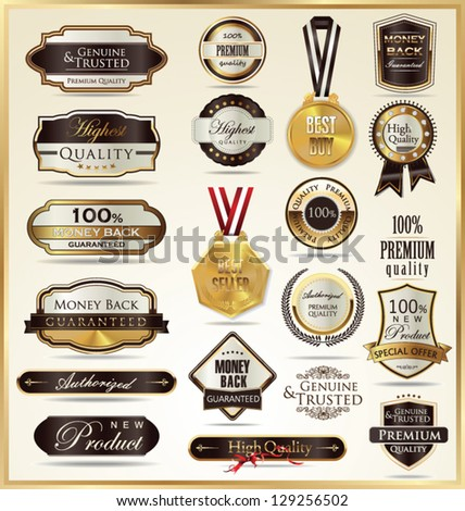 A set of vintage style golden labels - stock vector