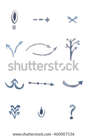 A set of watercolor arrows,design.