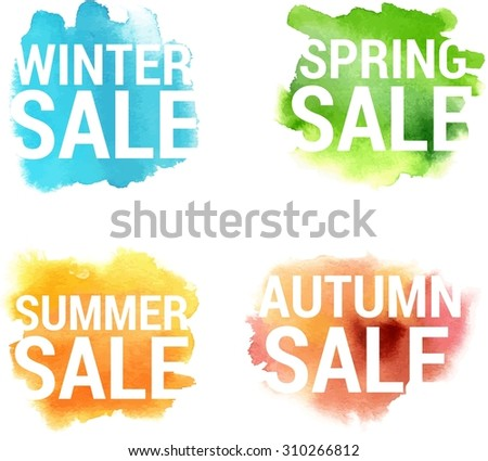 A set of watercolour banners with bright spots and words 'winter, spring, summer' and 'autumn sale', scalable vector graphic - stock vector