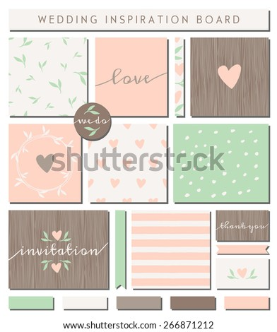 A set of wedding invitation templates, seamless patterns, ribbons, cards and stickers isolated on white. Pastel pink, mint green, brown and white color palette. Wedding inspiration board designs. - stock vector