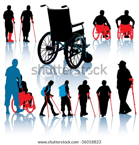 A set of wheelchair and handicapped people silhouettes - stock vector