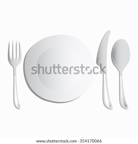 A set of white utensils on a white background, vector illustration. Empty plate, spoon, fork, knife. Tableware