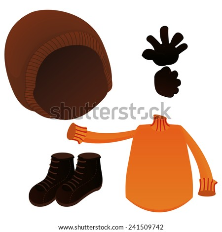 a set of winter clothes on a white background - stock vector