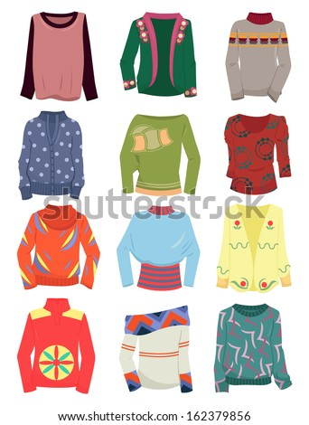 A set of women's autumn and winter sweaters isolated on a white background - stock vector