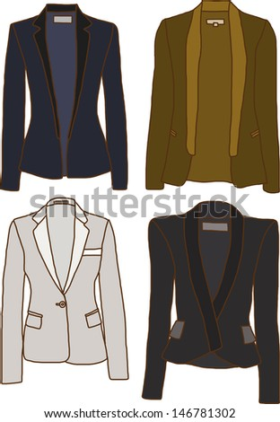 A set of women's jackets - stock vector